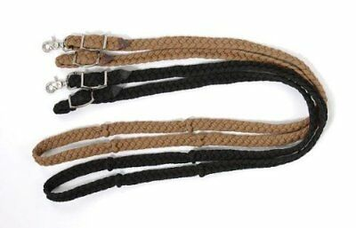 Tough 1 Knotted Cord Roping Reins, Brown/White
