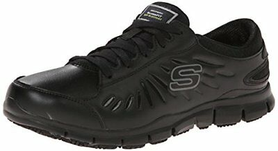Skechers for Work Women's Eldred Lace Up, Black, 6.5 XW