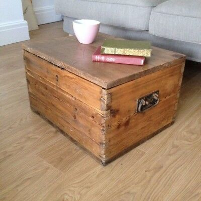Antique Vintage Oak and Pine Trunk Chest