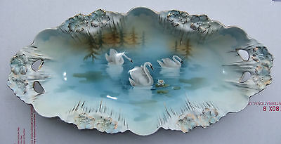 "RS PRUSSIA Unmarked with Incise# 13½""L OVAL BOWL SWANS ON LAKE SCENE ICICLE MOLD"
