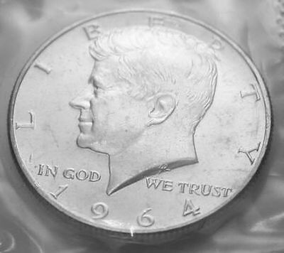 1964-P 50C Kennedy Half Dollar m2117ltcl 90% Silver BU Mint Cello  Free Shipping