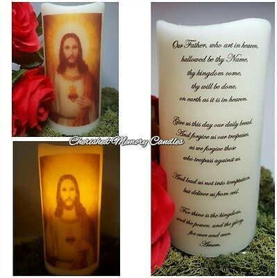 Religious Jesus LED battery operated candle with lords prayer
