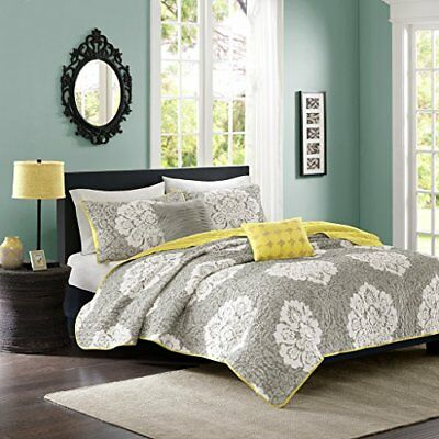 Intelligent Design Tanya 5 Piece Coverlet Set, Grey, Fu