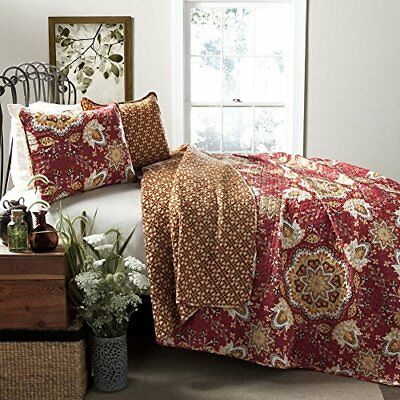 Lush Decor Addington 3-Piece Quilt Set, Full/Queen, Red
