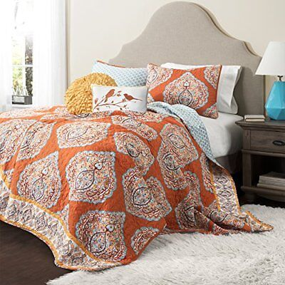 Lush Decor 5 Piece Harley Quilt Set, Full/Queen, Tanger