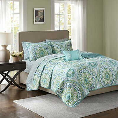 Serenity Complete Coverlet and Sheet Set Aqua Twin