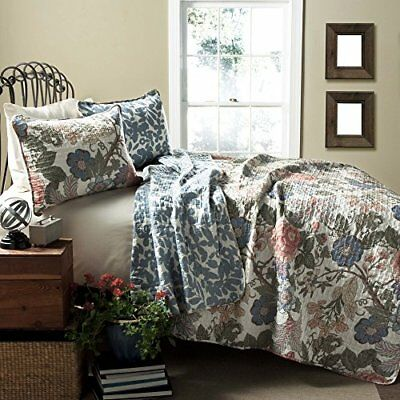 Lush Decor Sydney 3-Piece Quilt Set, Full/Queen, Green/