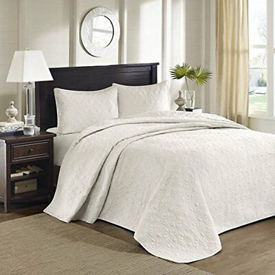 Madison Park Quebec 2 Piece Bedspread Set, Solid Ivory,