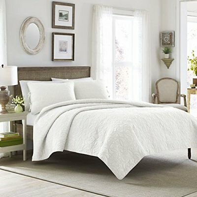Laura Ashley Felicity Quilt Set, White, King