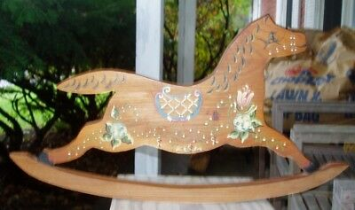 Wooden Rocking Horse Plaque Hand Painted Vtg. Artist initialed.