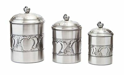 Old Dutch Antique Embossed 3 Piece Apple Canister Set w