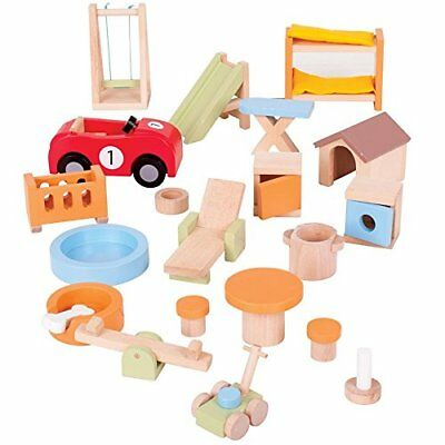 Bigjigs Toys Heritage Doll Furniture House and Garden P