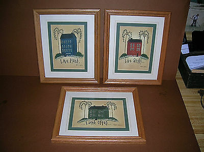 "Set of 3 Pictures ""Live Simply,Laugh Often,Love Much"" Oak Frames Glass Panes"
