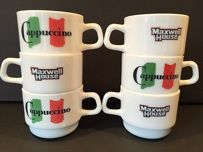 6 Cappuccino Maxwell House Milk Glass Coffee Mugs Arcopal Restaurant Stackeable