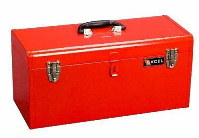 Excel TB140-Red Steel Tool Box with 1 Metal Tray, Red b