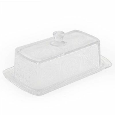 Pioneer Woman Adeline Clear Butter Dish Embossed Presse