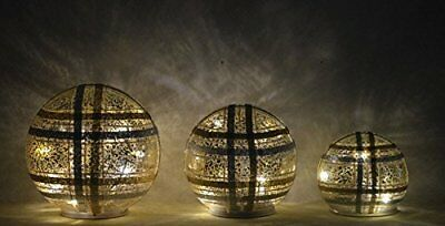 """Plaid Glass Spheres Set of 3 - Silver/Gold (4"""", 5"""", 6"""")"""