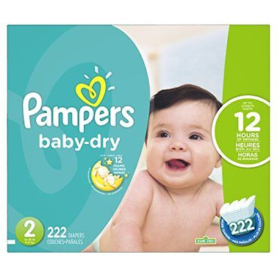 Pampers Baby Dry Diapers Size 2, 222 Count (Packaging M