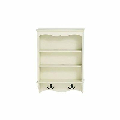 White MDF Wall Shelf with Hooks | Shelf Featuring Two D