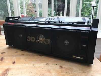 Hitachi TRK-3D8E Portable stereo Boombox Super Woofer black,tested works fine
