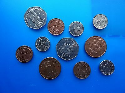 coins of Gibraltar Jersey & Isle of Man - British coins - 11 coins of Europe