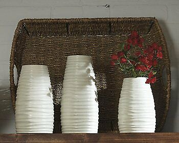 3-Pc Vase in Matte White Finish