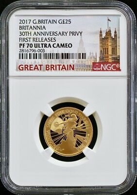 2017 GBritain Gold 20th Anniv Trident Privy Proof 1/4Oz £25 NGC PF70 1st Release