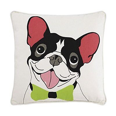 Dog Pattern Pillow in White and Black
