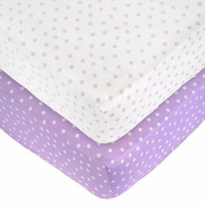 2 Pack Dot Sateen Crib Sheets - Lilac/White