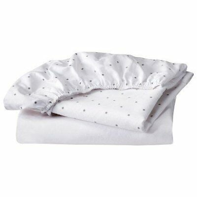 """100% Cotton Bassinet Fitted Sheet Set - Circo""""¢GREY/WH"""