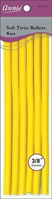 Annie 01212 Soft Twist Rollers, Yellow, 6 Count