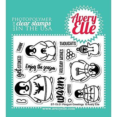 Avery Elle AE1531 Penguin Greetings Clear Stamp Set - 4