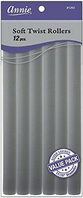 Annie Soft Twist Rollers, Gray, 10 Inch, 12 Count