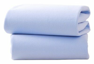 Baby - 2 Pack Flat Fitted Pram/Crib Sheet - Blue - Clai