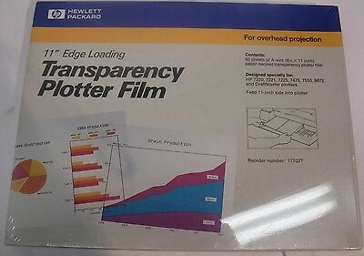 """HP Transparency Plotter Film For OverHead Projections 11"""" Edge Loading 17702T"""