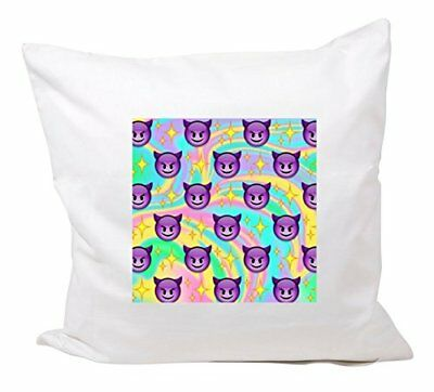 """Cushion Cover 40x40 """"Smiling face with horns and rainbo"""