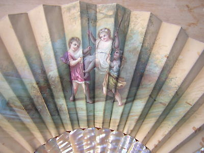 Antique Rare Signed Hand Painted Children French Mother Of Pearl + Silk Hand Fan