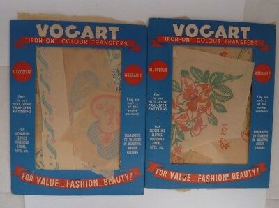 Vogart iron-on colour transfers vintage embroidery transfers floral hearts