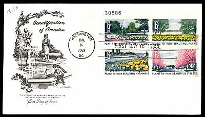 Mayfairstamps US FDC 1969 BEAUTIFICATION OF AMERICA PLATE BLOCK ARTMASTER SC C13