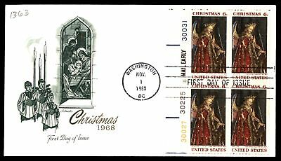 Mayfairstamps US FDC 1968 CHRISTMAS PLATE BLOCK ARTMASTER SC 1363 UNSEALED