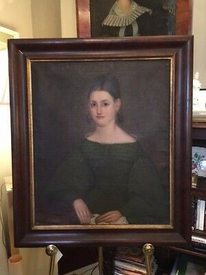 1830s American Itinerant Oil Portrait of Woman with Lace East Coast Romantic Era