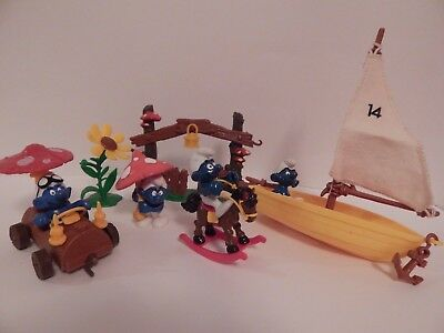 Vintage Smurf Figures Playset lot Peyo Schleich mushroom car sailboat gate