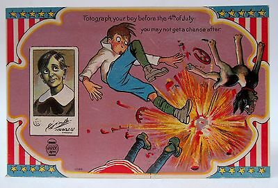 circa 1909 FOTOGRAPH YOUR BOY BEFORE THE FOURTH 4th of July CARTOON postcard