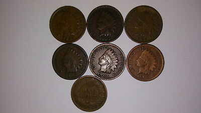 1859-1909 Indian Head Cent Penny VG to Fine+ 7 Coin Grab Bag