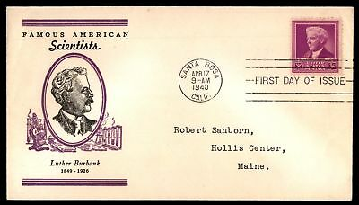 Mayfairstamps US FDC 1940 LUTHER BURBANK PURPLE CACHET UNSEALED