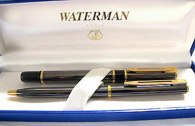 Waterman Black and gray Fountain Pen and Ball Point Pen Set Paris France (#279)