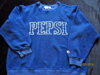 """NOTHING ELSE IS A PEPSI"" Navy Blue Fleece Pullover Sweatshirt ~ Size M"