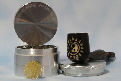 """Ying Star Hand Carved Wood pipe smoking Tobacco Lrg Tagua Pot & 2"""" herb Grinder"""