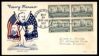 Mayfairstamps US FDC 1937 NAVY HEROES BLOCK SC 793 GRIMSLAND WITH INSERT UNSEALE