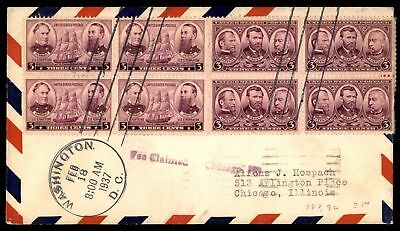 Mayfairstamps US FDC 1937 ARMY HEROES 2 BLOCKS SC 787,92 UNSEALED